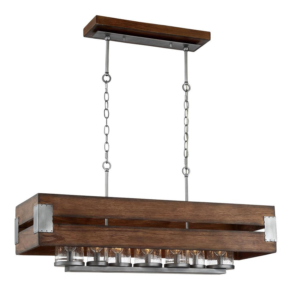 HDC 26365-DRK Ackwood 7-Light Dark Wood Rectangular Chandelier 1002765901