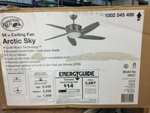 Load image into Gallery viewer, Hampton Bay 34021 Arctic Sky 54 in. Indoor Brushed Nickel Ceiling Fan 1002545486