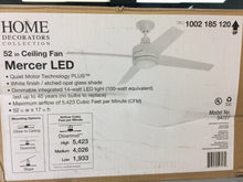 "Load image into Gallery viewer, HDC 54727 Mercer 52"" Integrated LED Indoor White Ceiling Fan 1002185120"