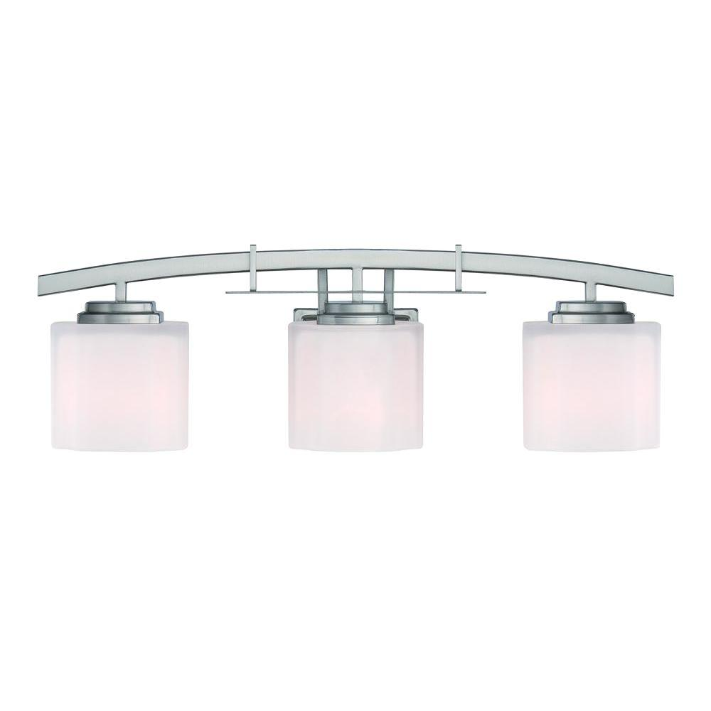 Hampton Bay 15041 Architecture 3-Light Brushed Nickel Vanity Light 662446