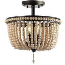 "Load image into Gallery viewer, JONATHAN Y JYL9020A Allie 14"" Wood Beaded Metal LED Flush Mount, Black & Taupe"