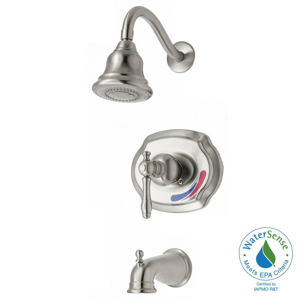 Glacier Bay 873W-1004 Lyndhurst WaterSense 1-Spray Tub & Shower Faucet, Nickel