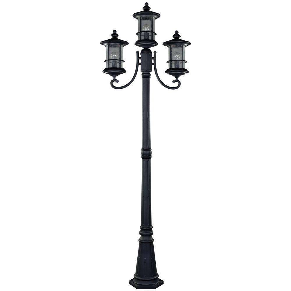 CANARM IOL151BK-HD Ryder 3-Light Black Outdoor Post Light with Seeded Glass
