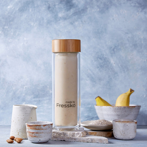 Banana + Nut Butter Smoothie in Fressko LIFT glass flask