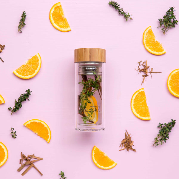 orange and thyme fruit water recipe in a fressko flask