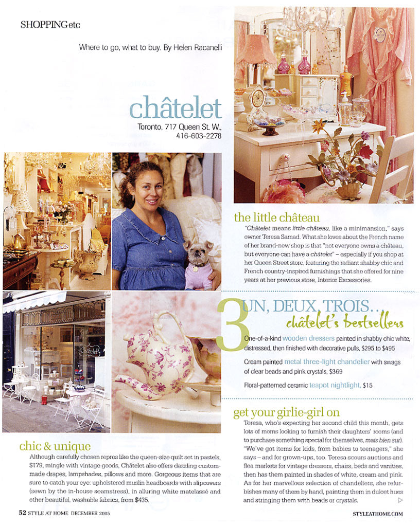 Châtelet Home and Teresa Wiwchar featured in Style At Home in December 2005