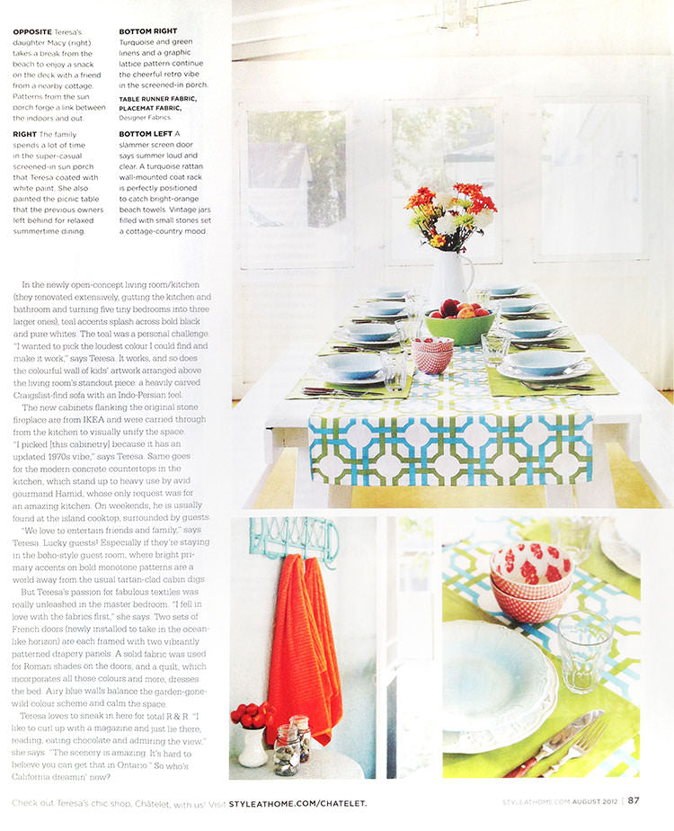 Châtelet Home and Teresa Wiwchar featured in Style at Home in August 2012