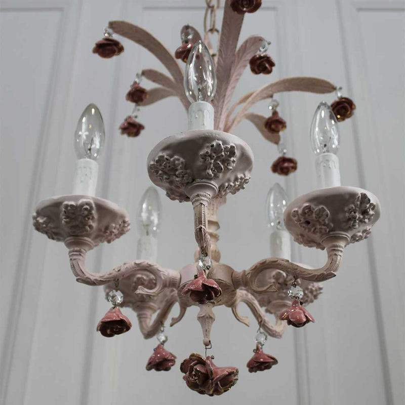 Châtelet Chandelier with Pink Ceramic Flowers