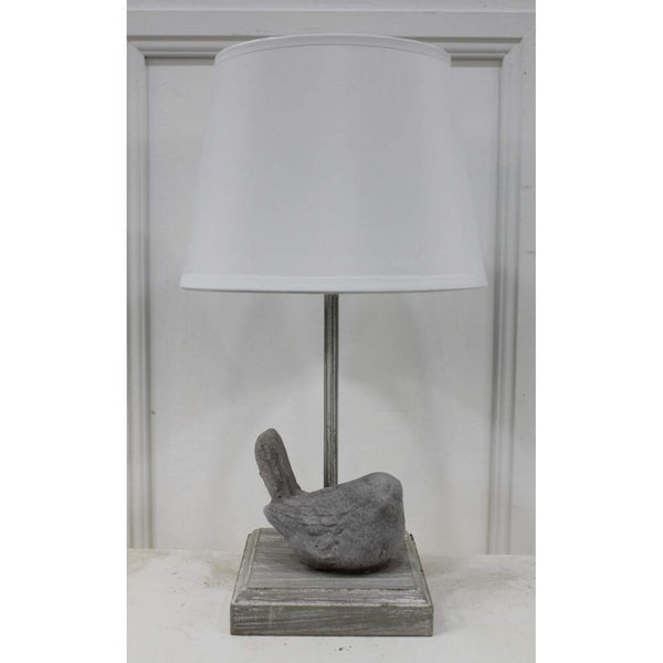 Chatelet grey bird lamp with white shade