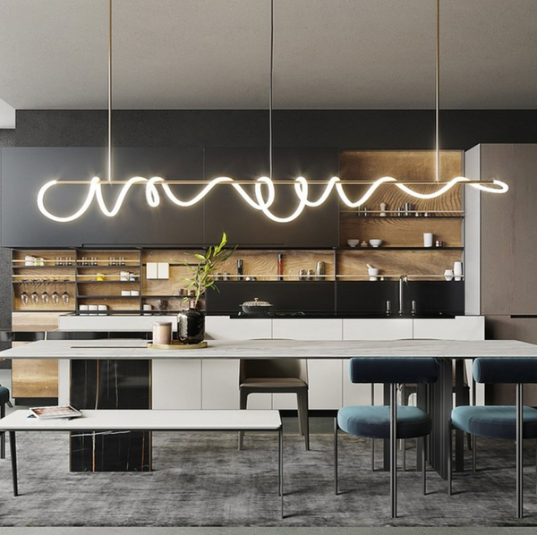 best height to mount a long pendant light over a kitchen island bench feature the curl curl modern LED flexible decorative piece NZ New Zealand latest lights