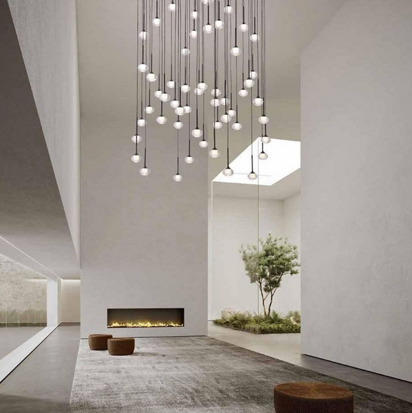 large 56 light mounted over a modern void perfect height for safety
