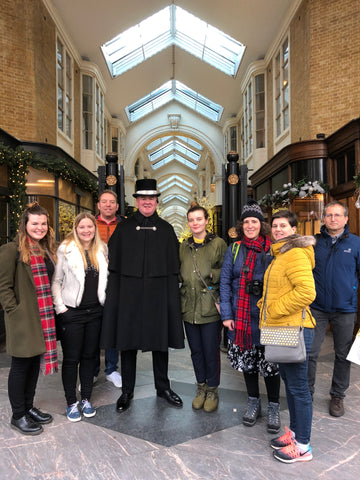 London Chocolate Walking Tour - guests with a Beadle in Burlington Arcade