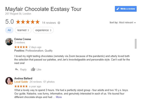Google reviews for Chocolate Ecstasy Tours