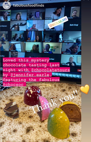 """""""loved this chocolate tasting evening with Jennifer Earle, Nicola Lamb and The Chocolate Society"""" - from @fabulousfoodfinds"""