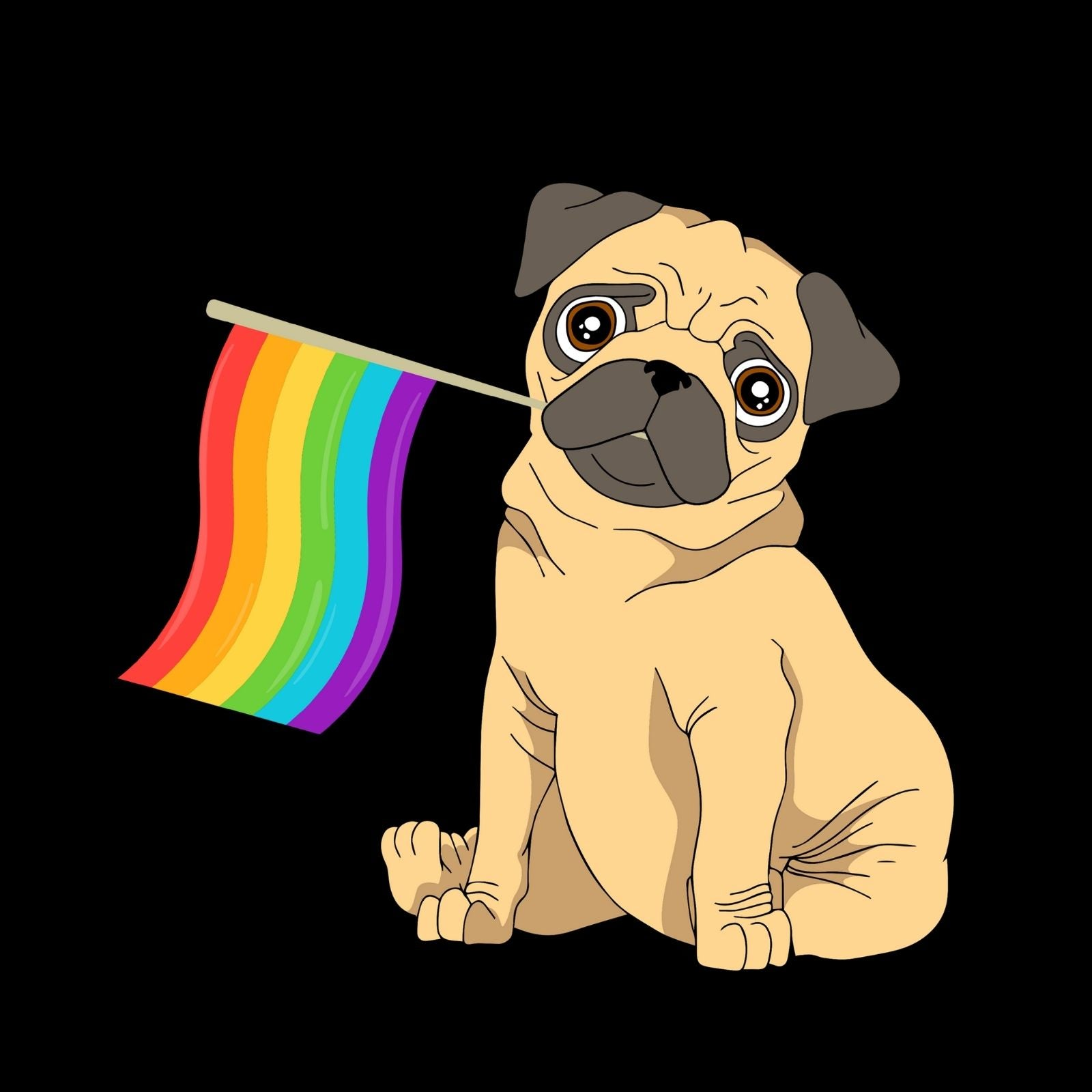 Dog And Colorful Flag - Bastard Graphics