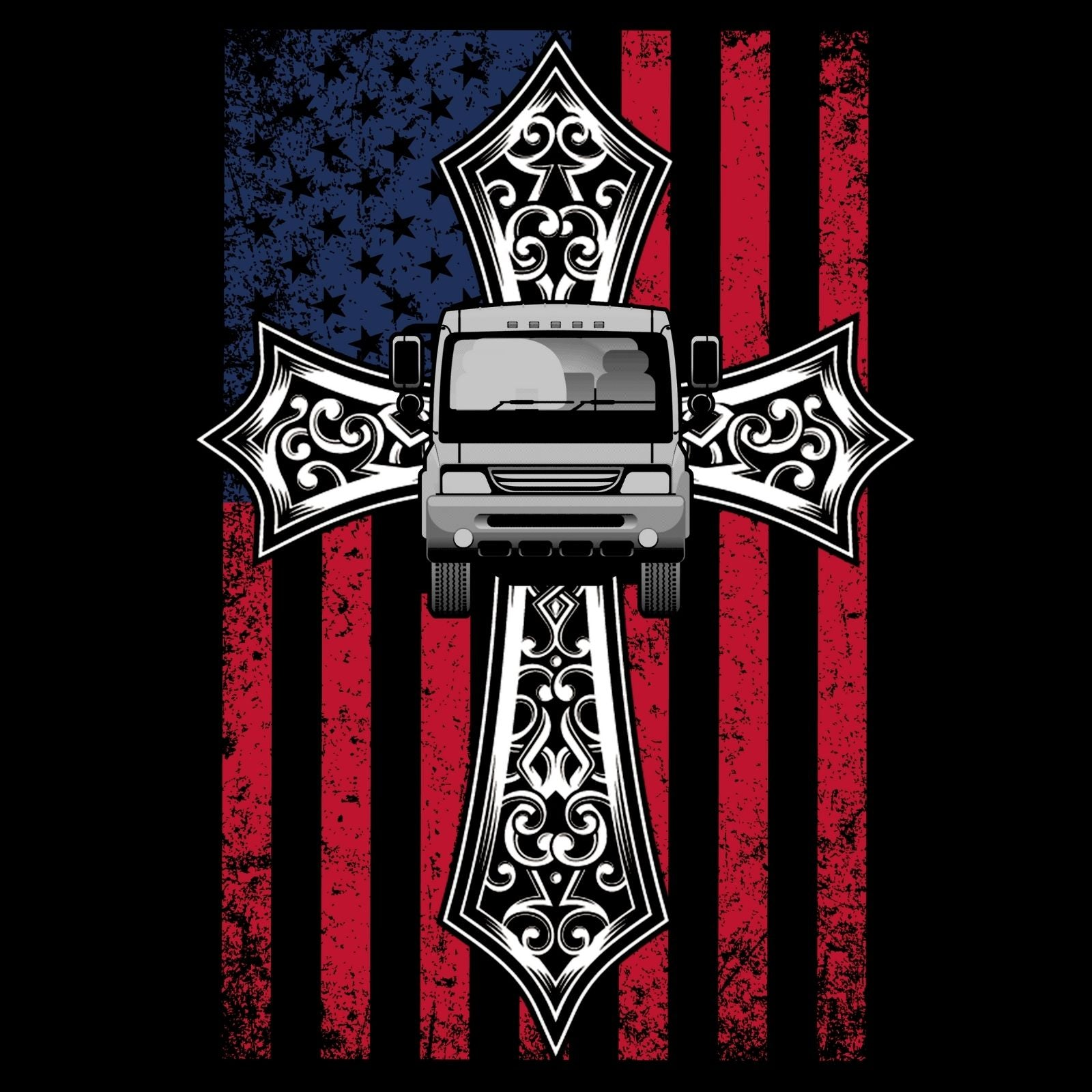 Cross, Truck & USA Flag - Bastard Graphics