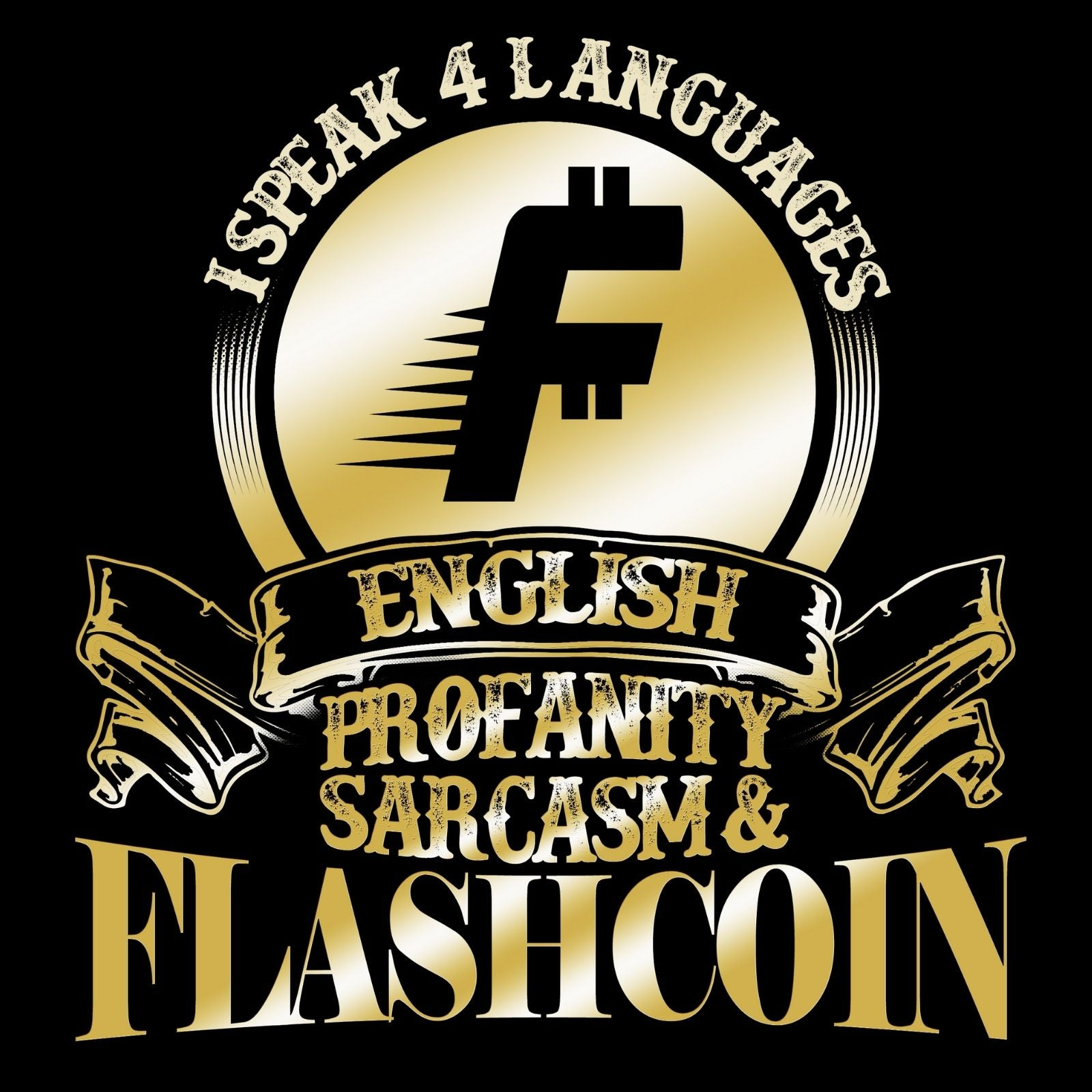 I Speak 4 Languages Flashcoin - Bastard Graphics