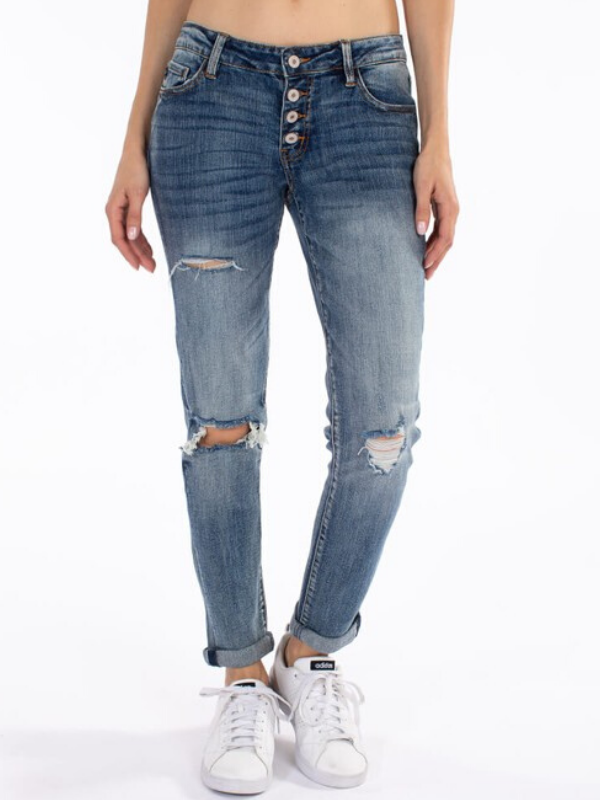 KanCan Benny Mid Rise Girlfriend Jeans