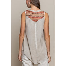Load image into Gallery viewer, Almond Sleeveless Top w/Tribal Design Back
