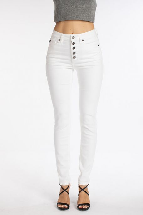 KanCan White High Rise Button Fly Super Skinny