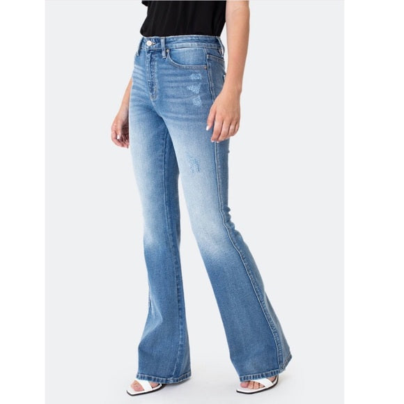 Kancan Light High Rise Flare Bootcut Jeans Herbal Commons