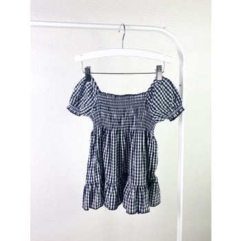 Peasant Gingham Ruffle Dress