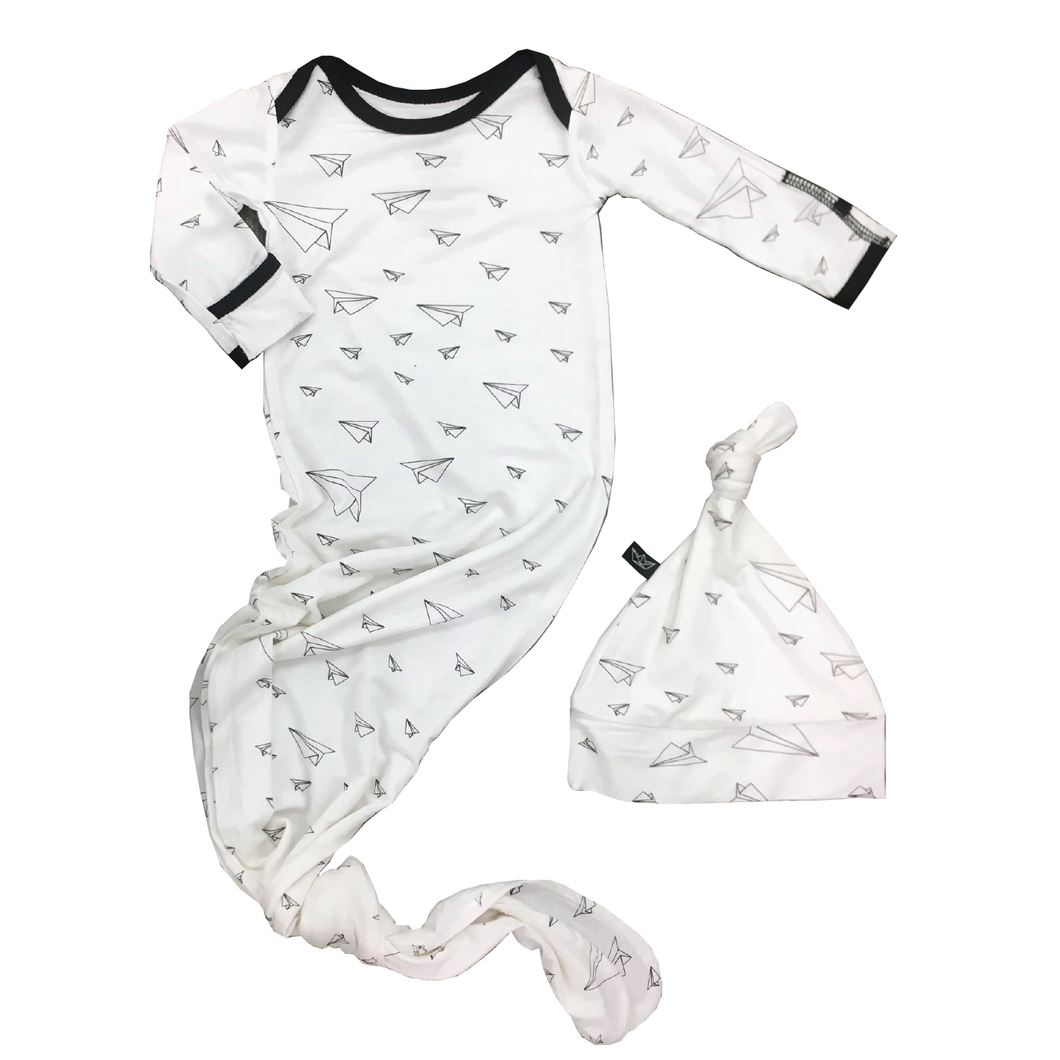 Peregrine Newborn Gown Set - Paper Airplanes