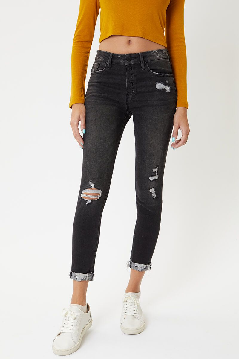 KanCan Cassidy Black High Rise Ankle Skinny Jeans