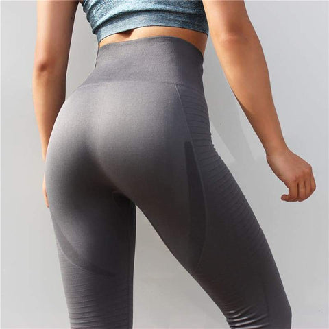 High Elasticity Women Grey Yoga Pants Squat-Proof Gym Leggings