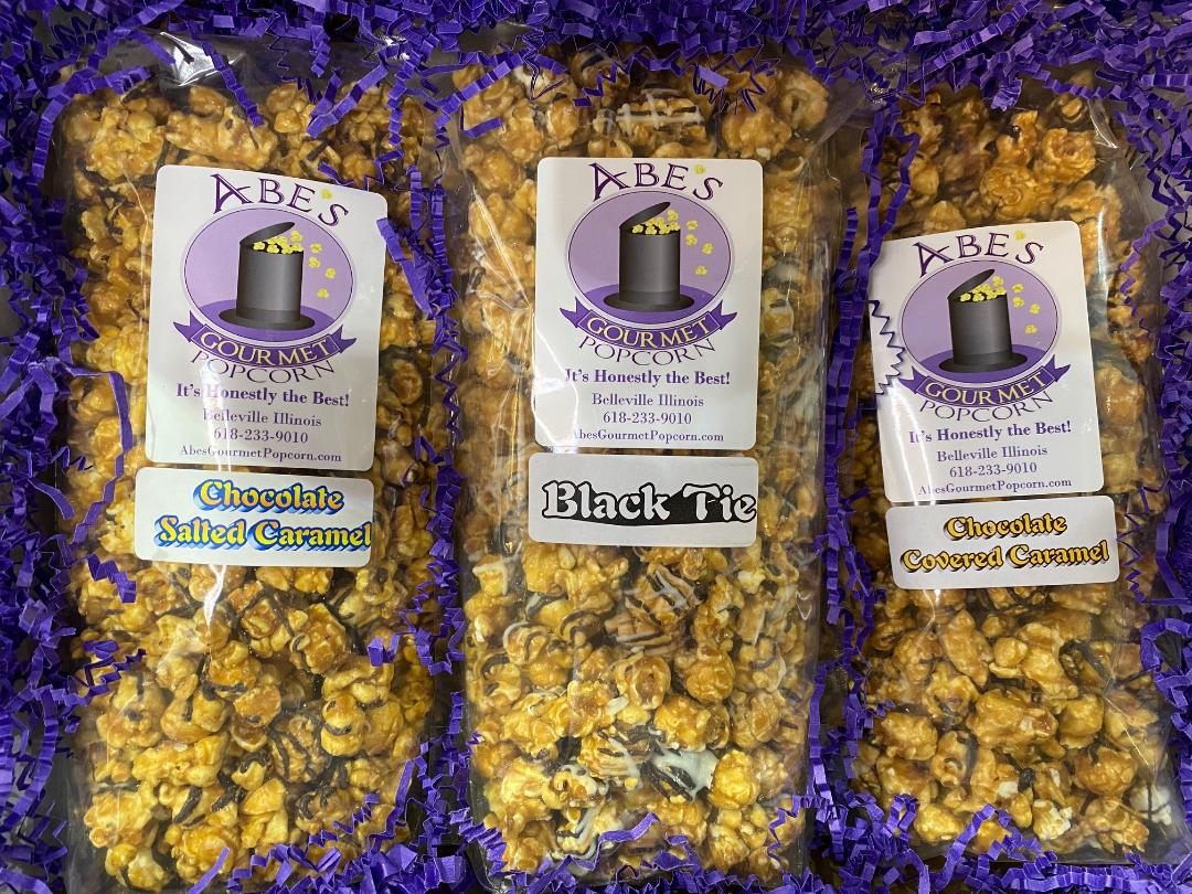 Inside view of a gourmet popcorn gift box