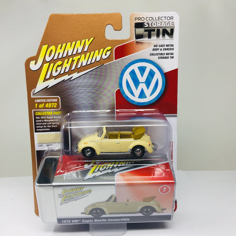 JOHNNY LIGHTNING TIN 1975 VW SUPER BEETLE CONVERTIBLE IN IVORY R3B-1