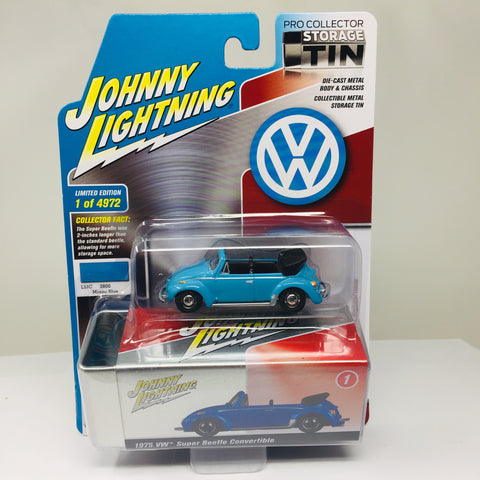 JOHNNY LIGHTNING TIN 1975 VW SUPER BEETLE CONVERTIBLE IN BLUE R3A-1