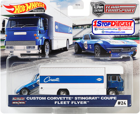 Hot Wheels Team Transport Custom Corvette Stingray Coupe and Fleet Flyer