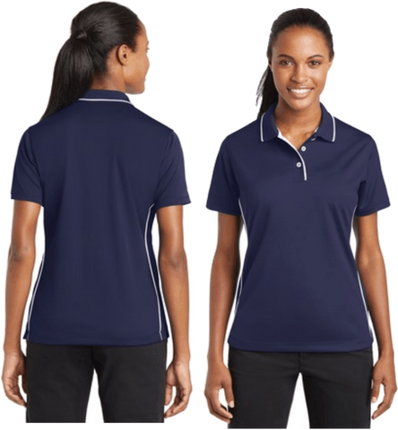 Sport-Tek® Ladies Dri-Mesh® Polo. Navy with Tipped Collar and Piping.  L467