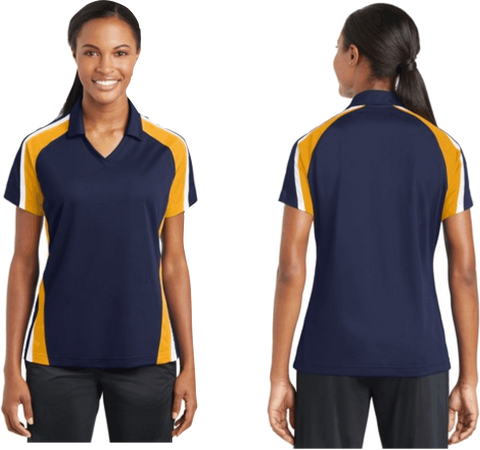 Sport-Tek® Ladies Tricolor Micropique Sport-Wick®Polo. Navy / Gold / White LST654