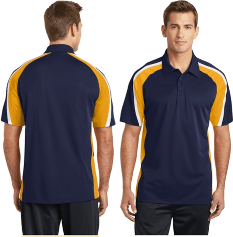 Sport-Tek® Tricolor Micropique Sport-Wick® Polo.  Navy/Gold/White ST654