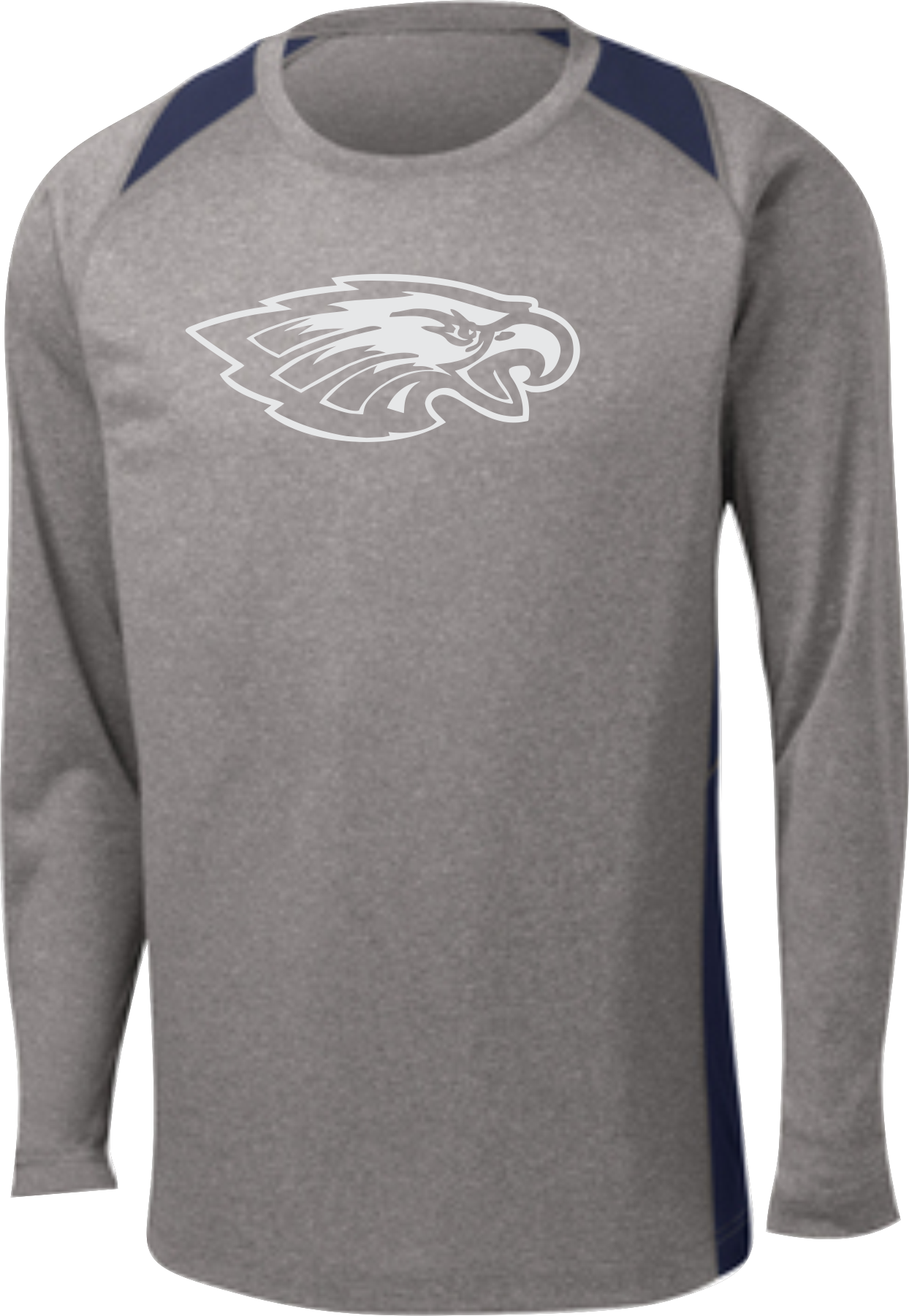 Reflective Eagle long sleeve wicking T shirt with color insert