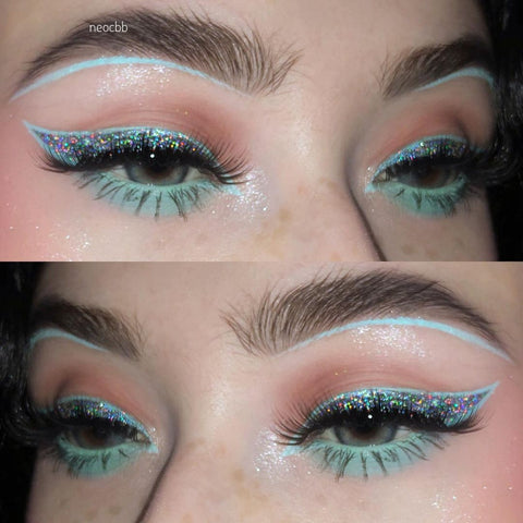 instagram influencer neocbb wearing trendy mint green makeup with CoFANCY Colored Contacts Ocean Blue
