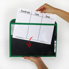 Load image into Gallery viewer, (24) Durable Dry Erase Pockets w/ Sturdy Back and Clear Vinyl Sleeve