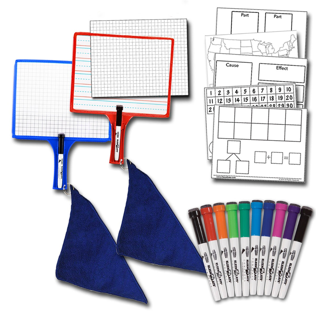 Home School Paddle Kit - (2) Customizable Whiteboards w/ markers + BONUS (1) 10-Pack of Color Markers