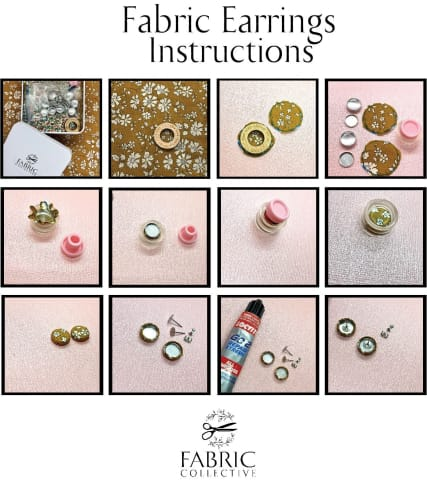 Liberty of London Fabric Button Earring Kit 12mm or 15mm