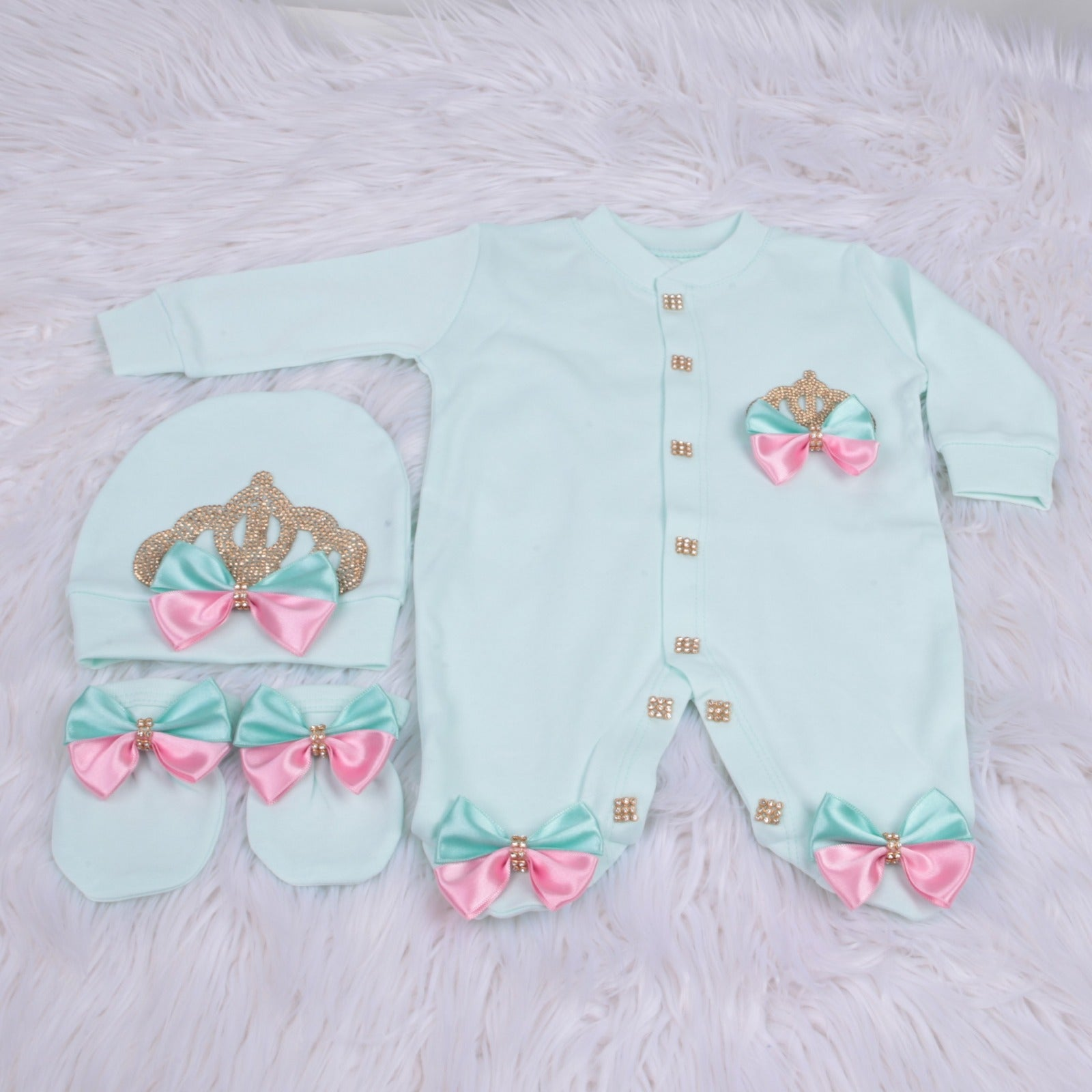 3 Pieces Princess Set Mint Pink