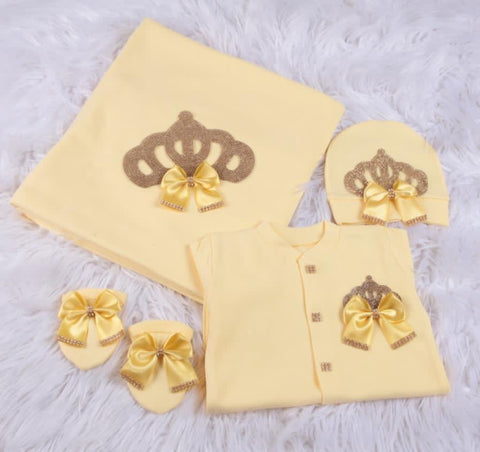 4 Pieces Prince Set Yellow Long Bows Gold