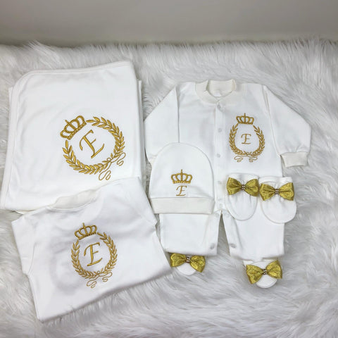 4 Pieces Prince Set Embroidery Gold