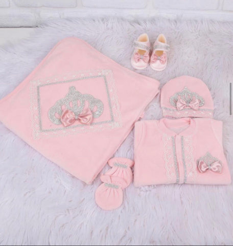 5 Pieces Velvet Set Peach