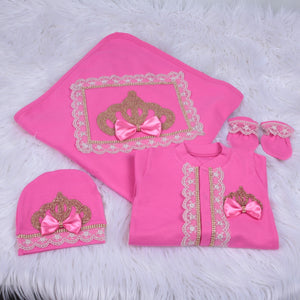 4 Pieces Prince Set Fuschia Gold Lace