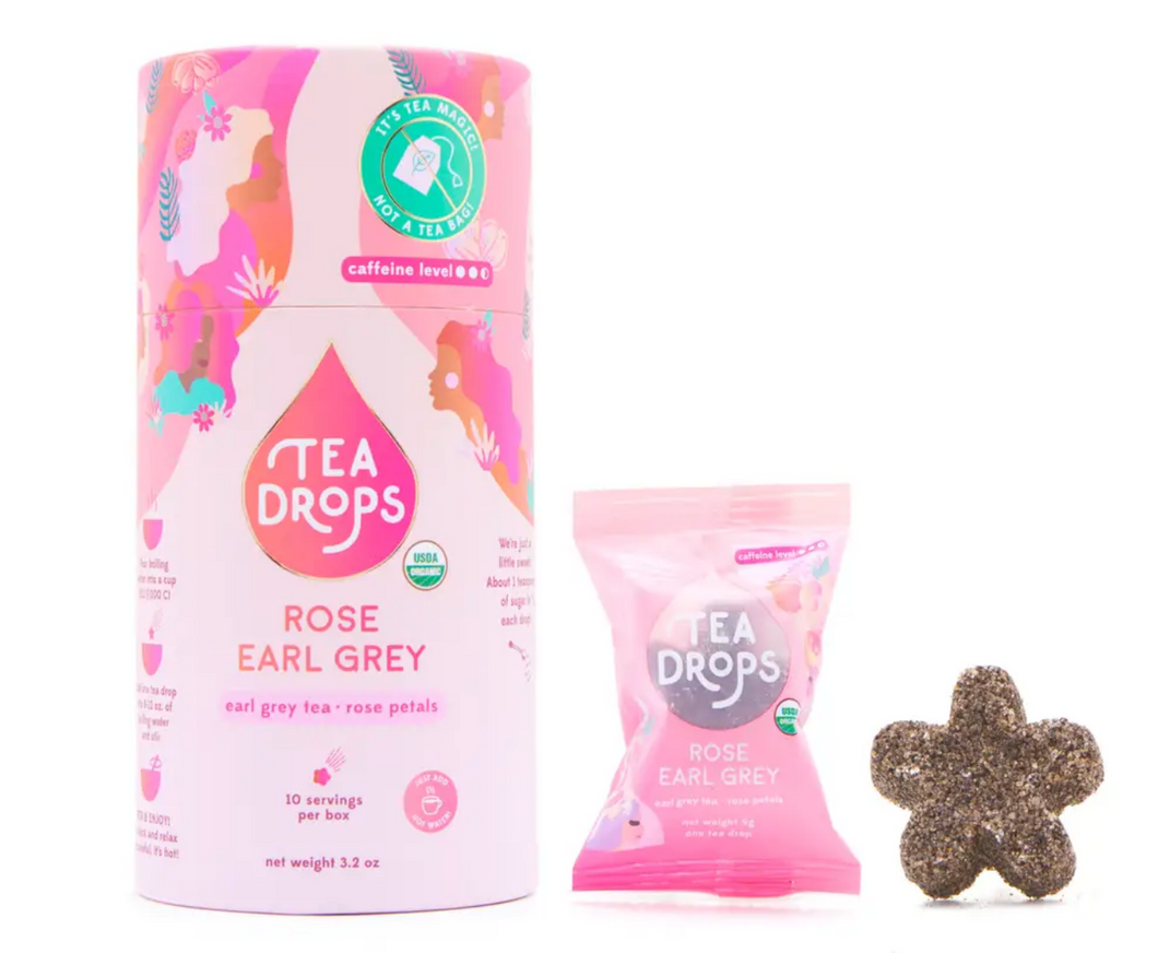 Tea Retail Cylinder - Tea Drops- Rose Earl Grey