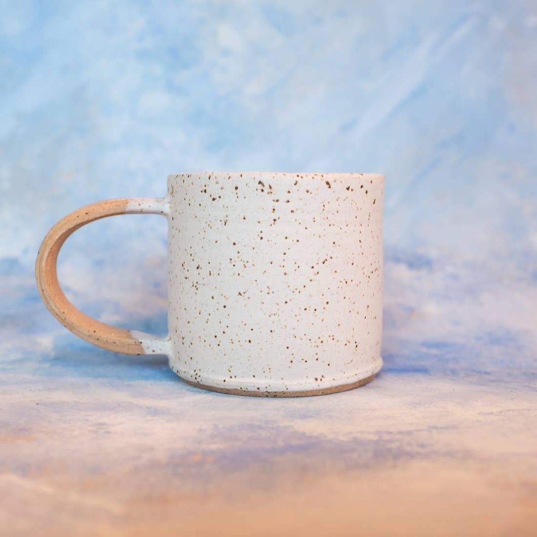 Speckled White with Raw Handle Camp Mug