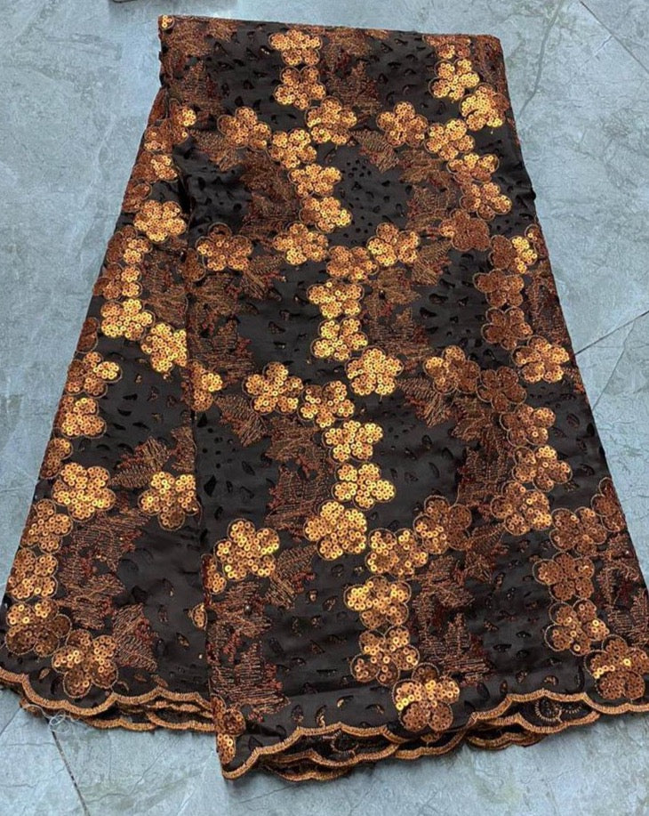 Brown and Gold Bridal Lace