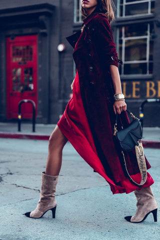 Thigh-High Slits and Ankle Length Boots